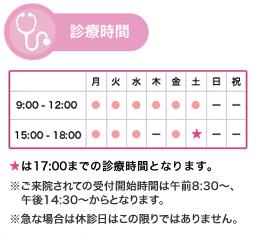 日・祝休み 診療時間 午前9:00〜12:00 午後15:00〜18:30(ただし木曜午後休診、土曜午後は17:00まで)急な場合は休診日はこの限りではありません